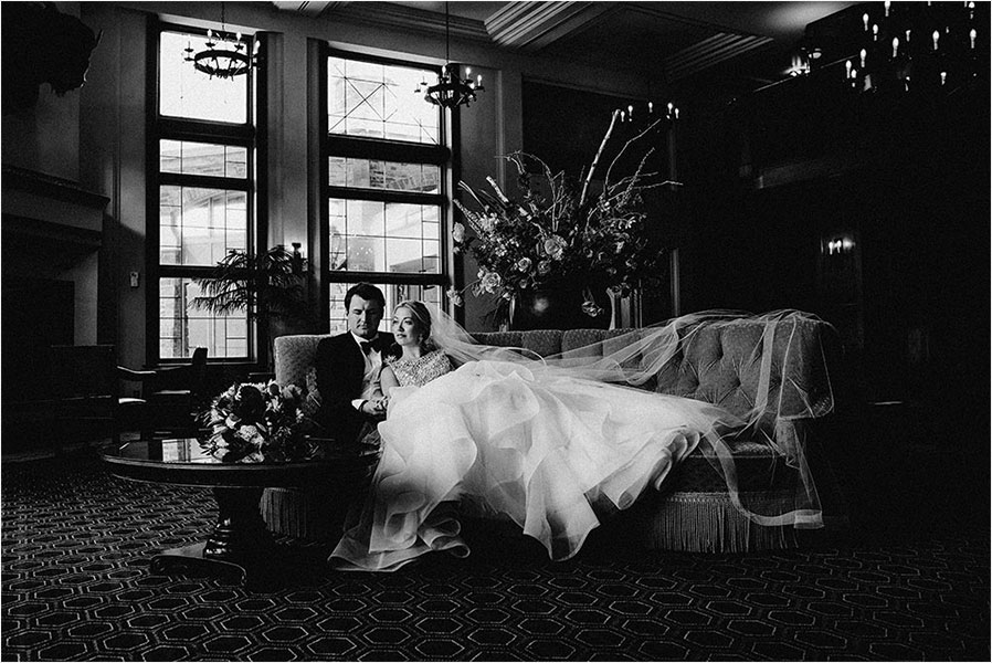 bride and groom sit together fairmont banff springs