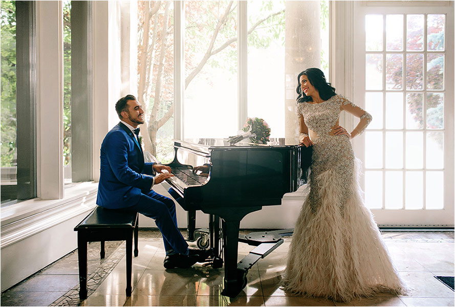 groom plays piano for bride in toronto liberty grand