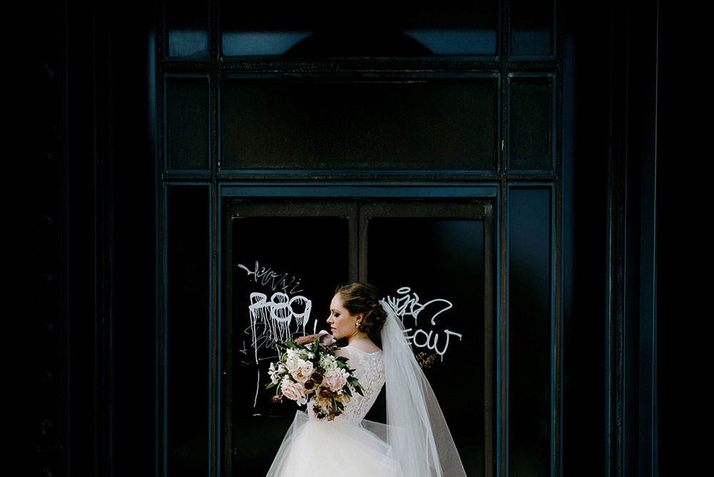 candid bride and bouquet downtown toronto