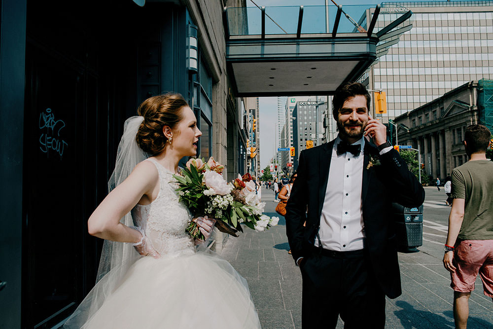 candid bride and groom downtown toronto