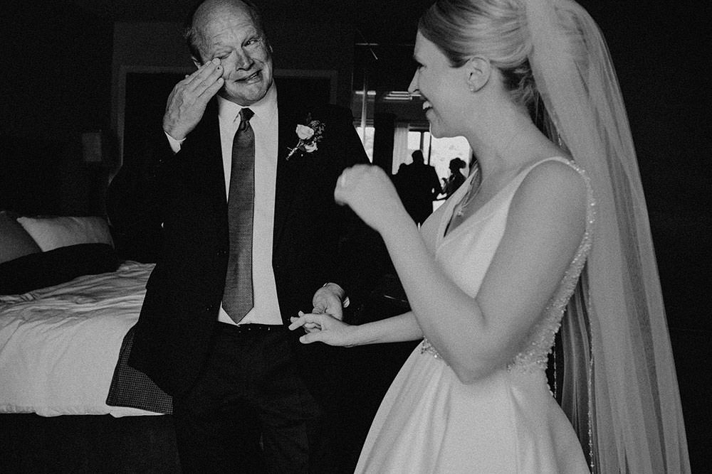 father and bride shed a tear at Hockley Valley resort Wedding