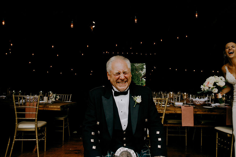 father of the bride laughs out loud at the Belcroft estates
