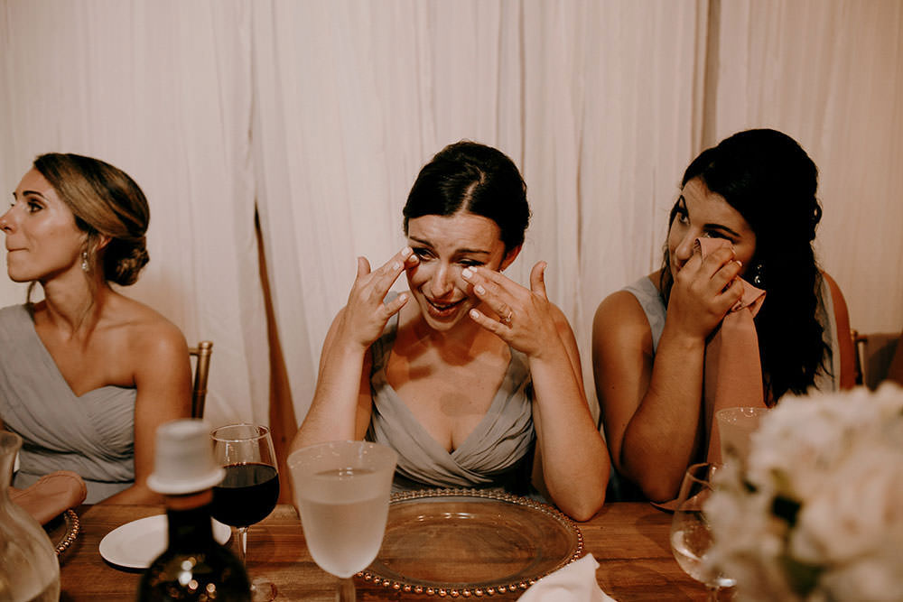 bridesmaid cries at the Belcroft estates