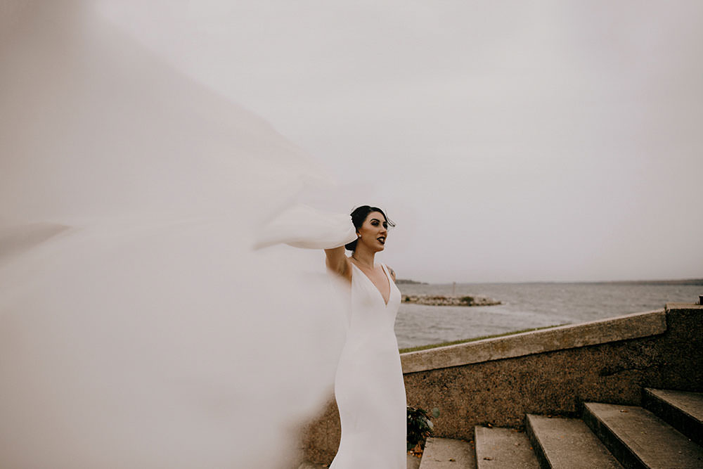 Bride's Veil flies in the wind at waterfront in Barrie