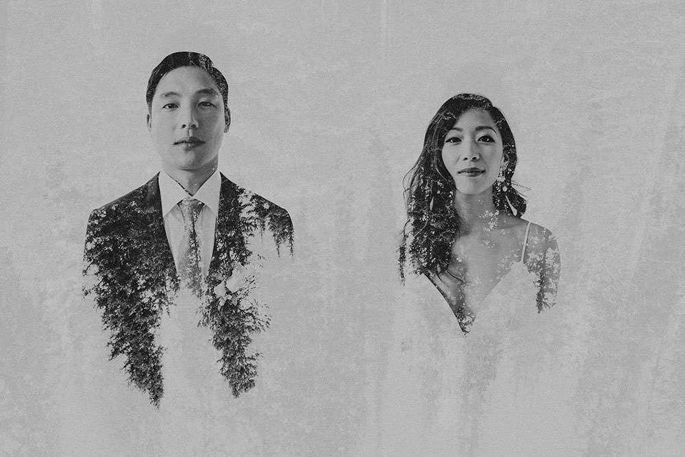 double exposure of bride and groom at the Fairmont Chateau Lake Louise