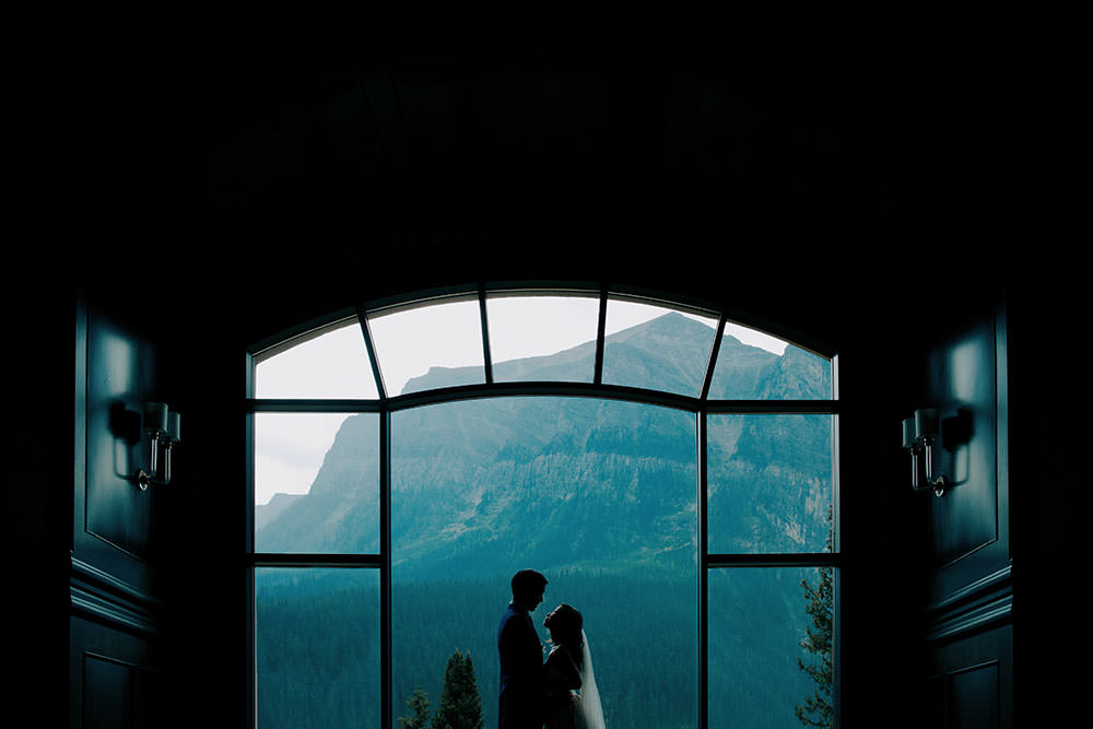 silhouette moment for newlyweds at the Fairmont Chateau Lake Louise