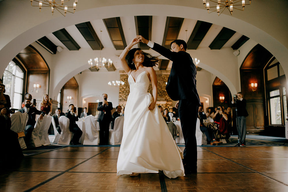 couples first dance at the Fairmont Chateau Lake Louise