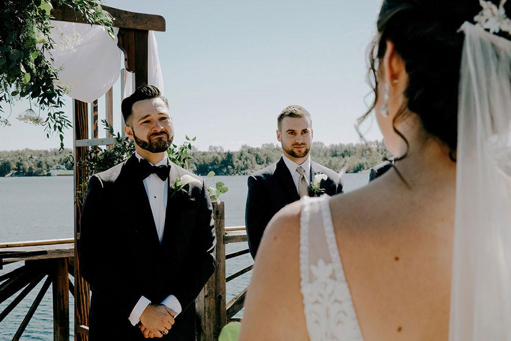 Emotional groom at Bell Park in Sudbury