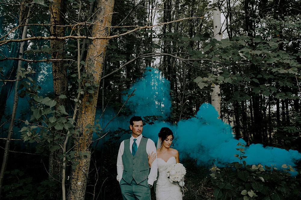 blue smoke bomb in wedding portrait in sudbury