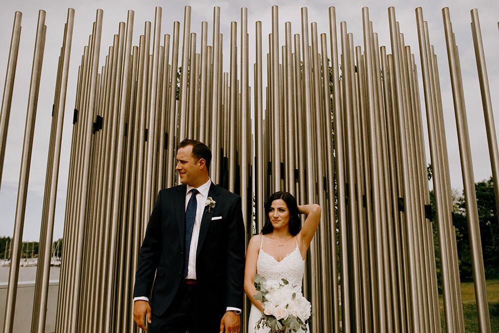 science north bride and groom portrait