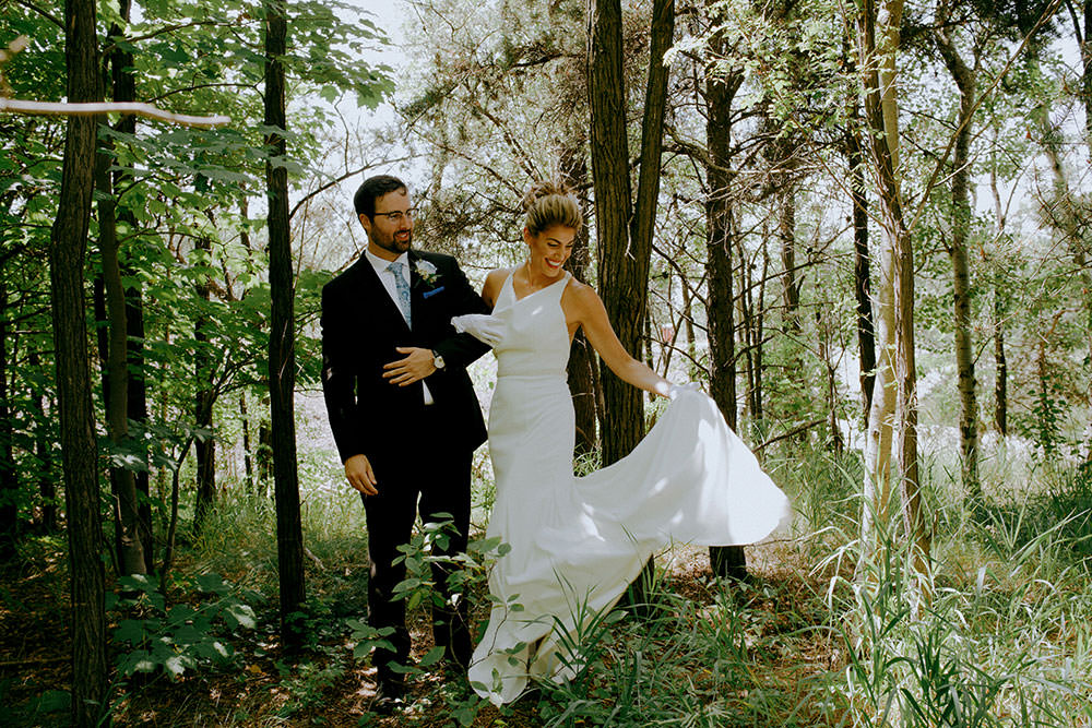 sudbury wedding photography bride and groom in forest