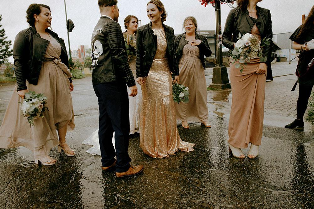 bride and groom walking downtown sudbury
