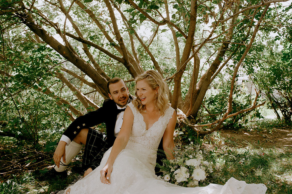 bride and groom in nature at idylwylde wedding