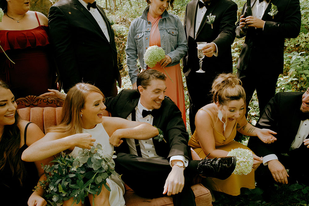 sudbury wedding party being candid