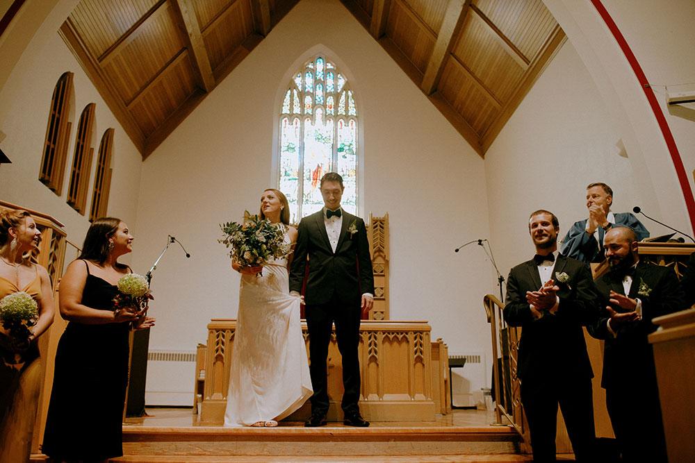 sudbury wedding bride and groom presented at altar