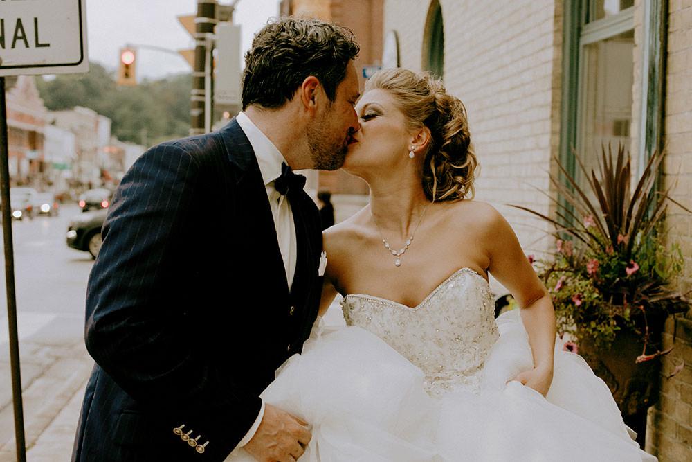 Paris Ontario Wedding bride and groom walk candidly