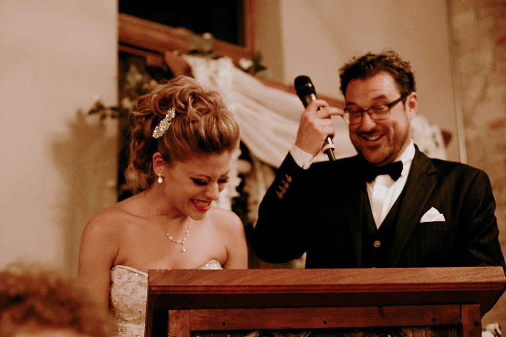 Paris Ontario Wedding reception bride and groom laughing