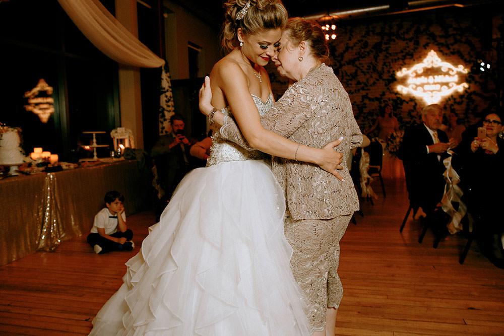 Paris Ontario Wedding reception bride dancing with mother