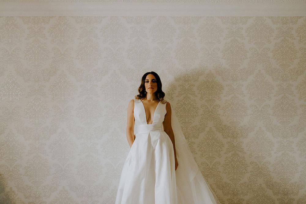 vaughan bride poses for camera