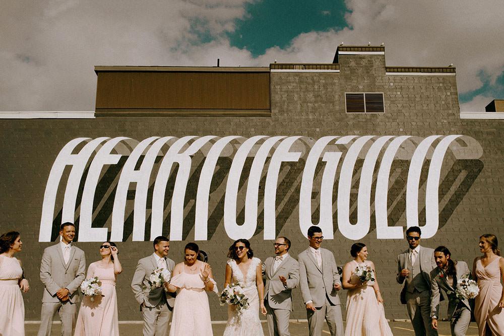 award winning wedding photography of bridal party in downtown sudbury