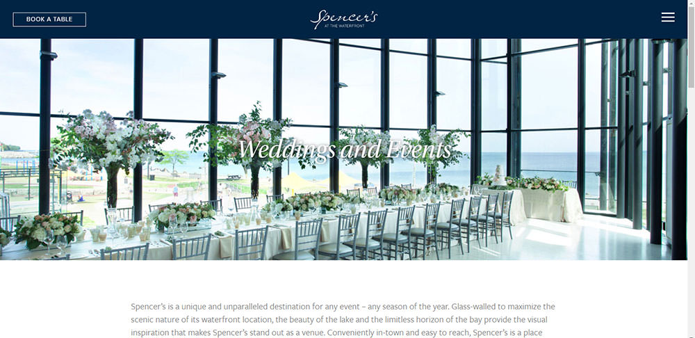 Spencer's on the waterfront Burlington Wedding venue