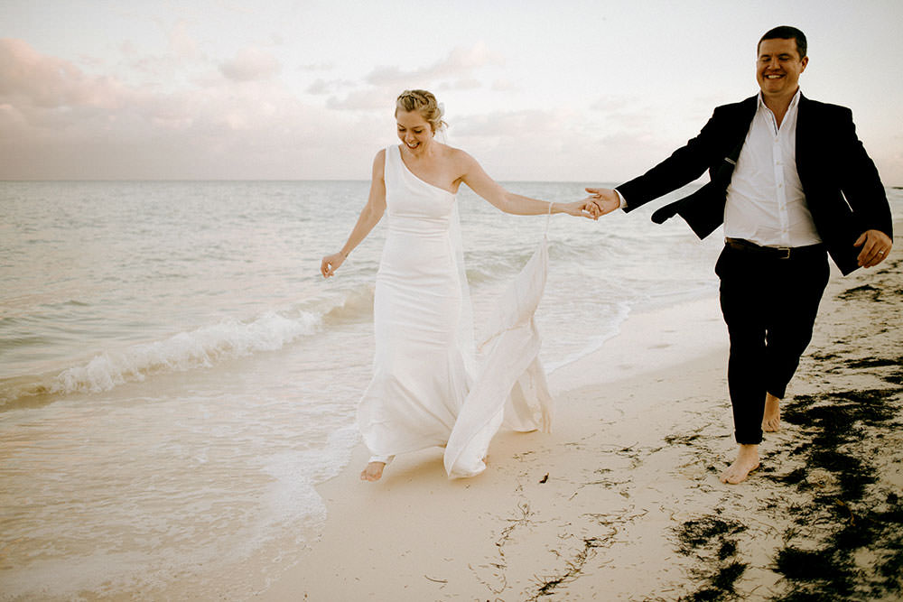 Royalton Riviera Cancun Wedding couple run down