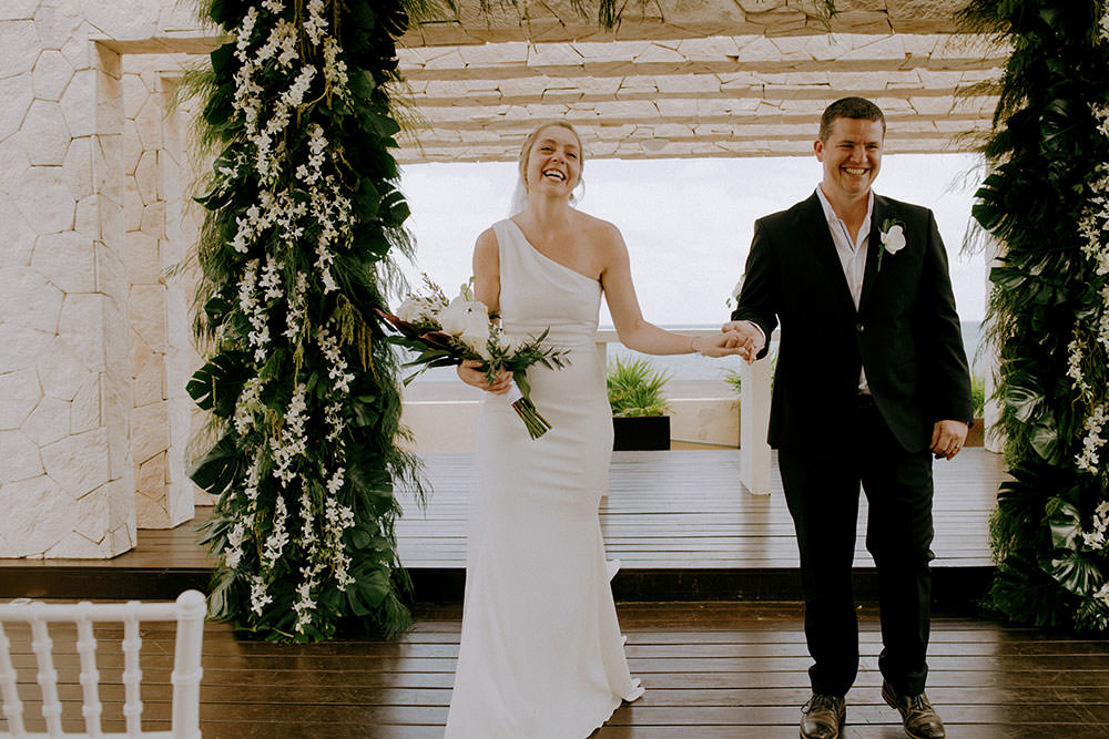 Royalton Riviera Cancun Wedding couple complete vows