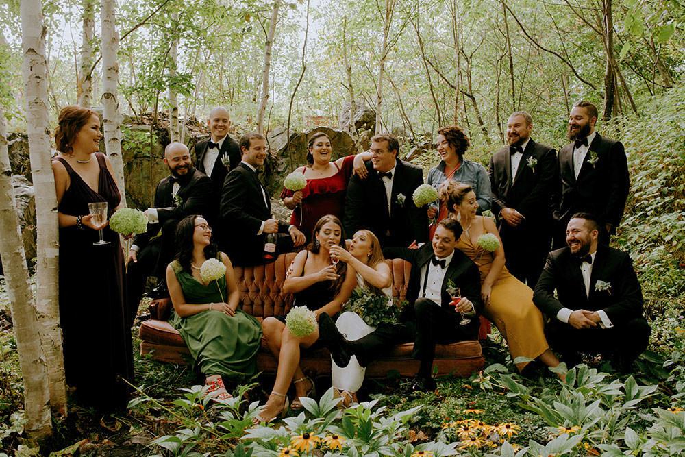 sudbury wedding bridal party drinking beer