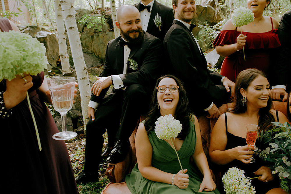 sudbury bridal party laughs together