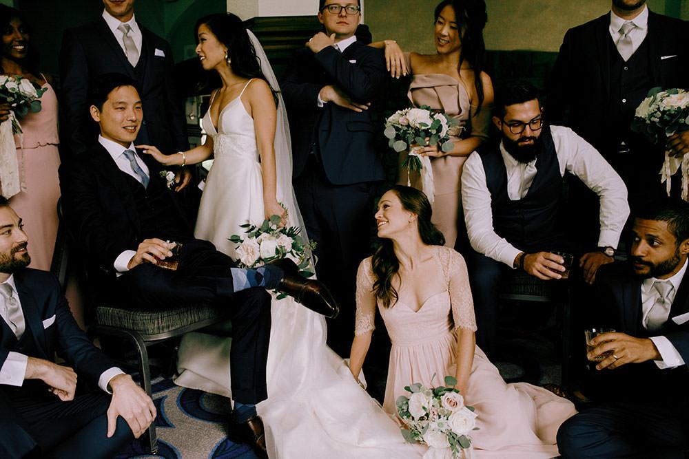 fairmont lake louise bridal party posing