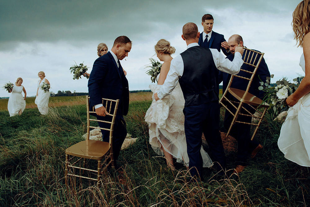 toronto bridal party laughs together