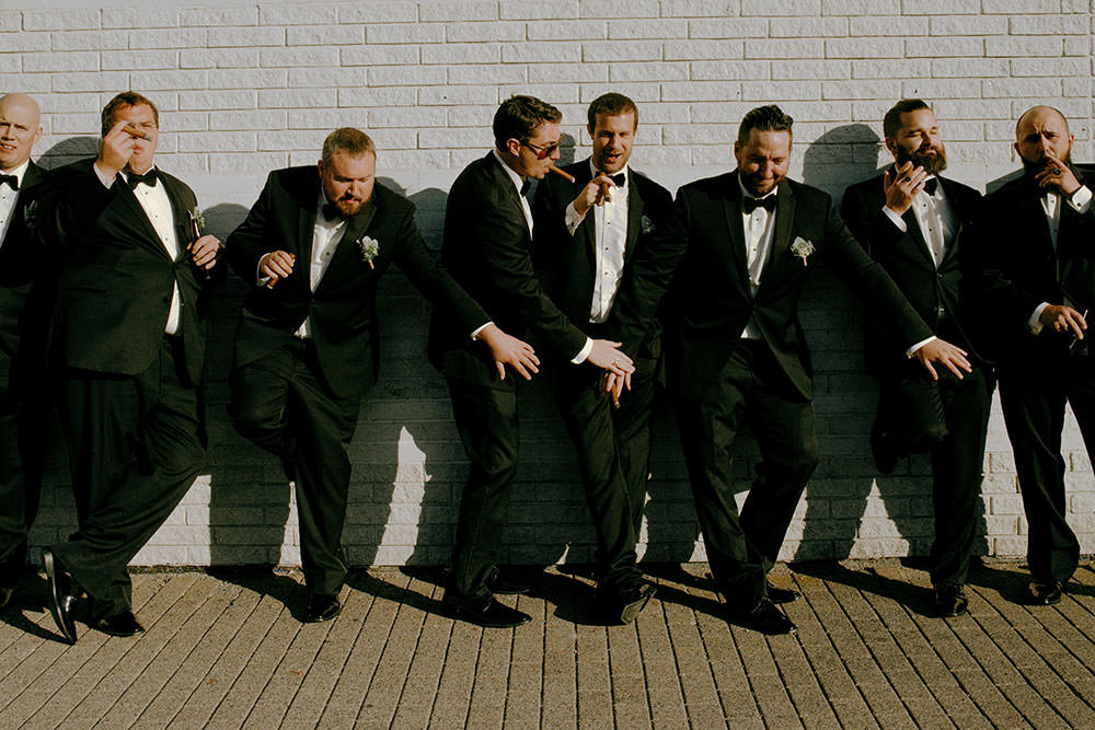 sudbury bridal party laugh together