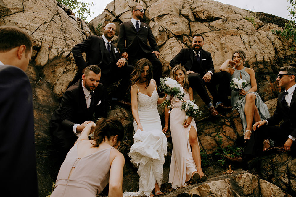 sudbury bridal party laughing candidly