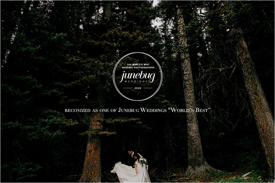Wedding photography couple in forest in Banff