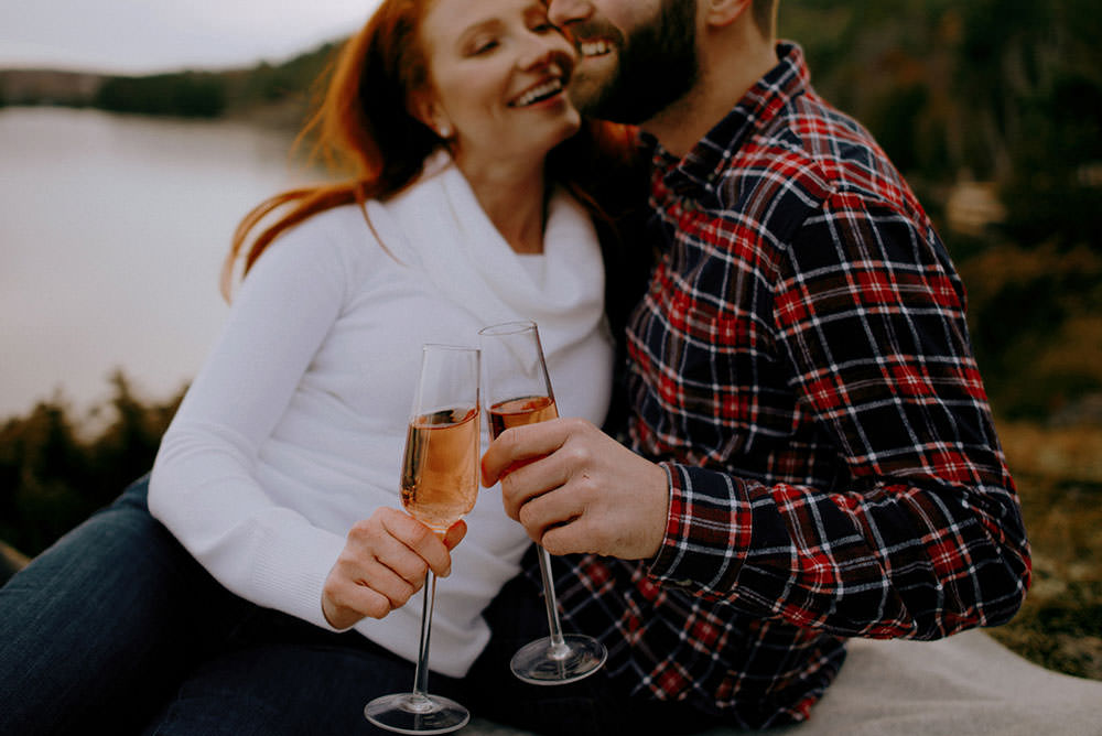 Fairbanks Ontario engagement photography of couple laughing candidly together