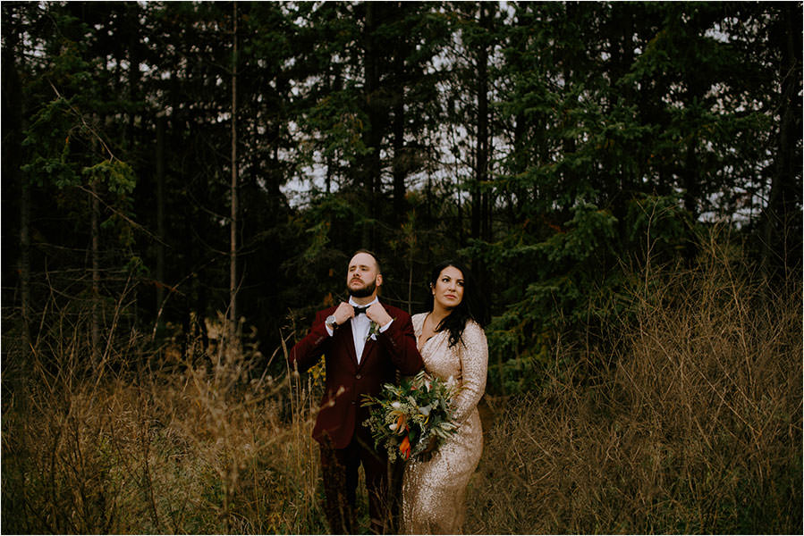Sudbury Ontario wedding photography of bride and groom in forestry